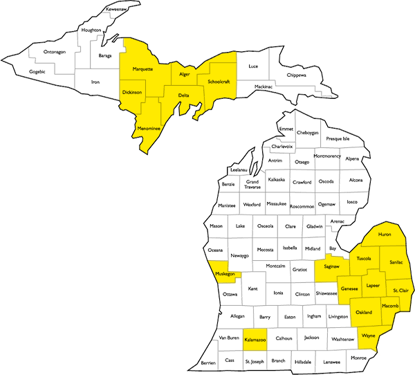 Block image Highlighted Michigan Map